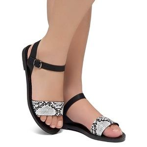 Shoes - Blck White Snake Open Toes Ankle Strap Flat Sandal